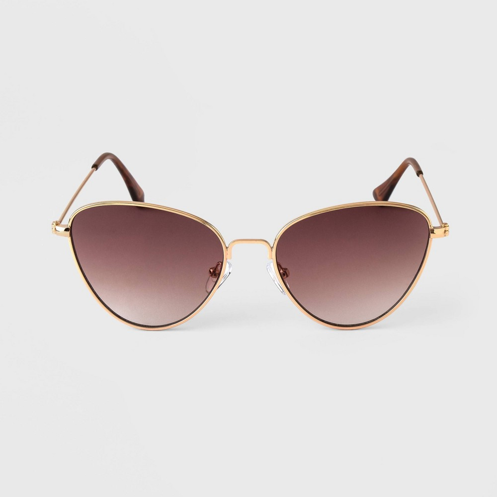 Women 39 S Small Frame Cateye Metal Sunglasses A New Day 8482 Gold