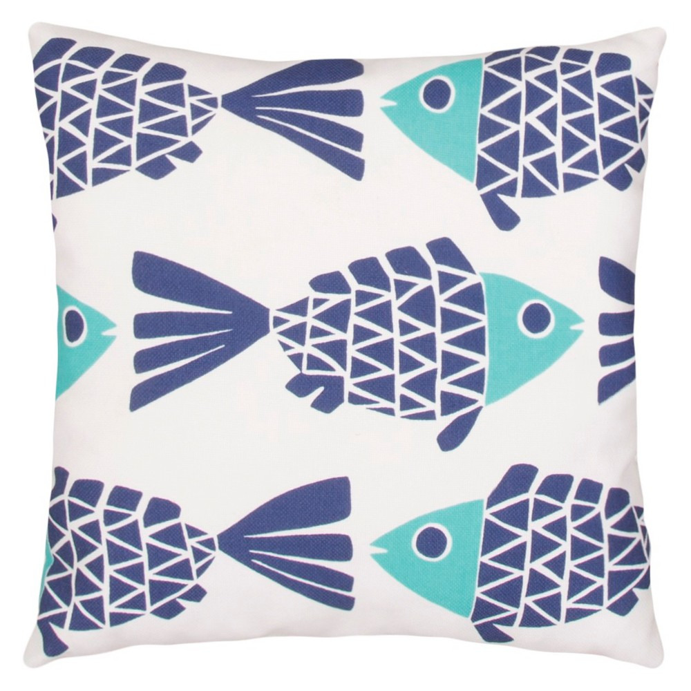Image of Blue Outdoor Throw Pillow - Jaipur