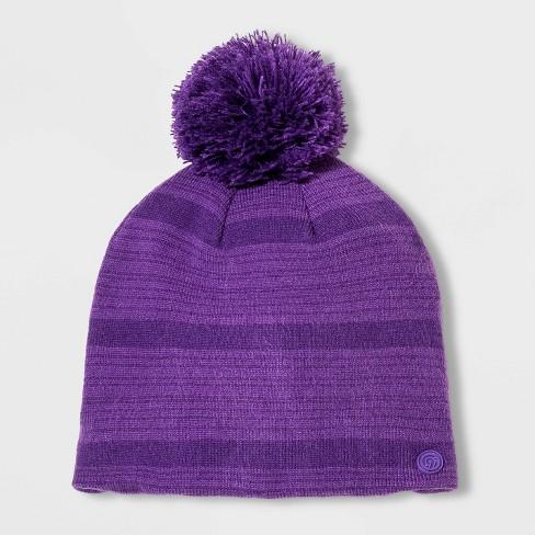 Girls' Pattern Knit Beanie with Pom - C9 Champion® Purple One Size - image 1 of 1