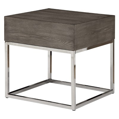 Cecil II End Table Gray Oak/Chrome - Acme Furniture