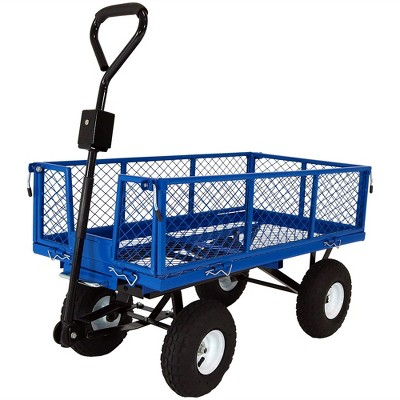 Sunnydaze Outdoor Lawn and Garden Heavy-Duty Durable Steel Mesh Utility Dump Wagon Cart with Removable Sides - Blue