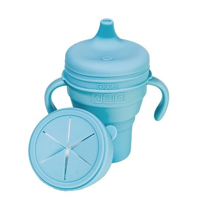 Austin Baby Collection Silicone Collapsible Cup Sippy & Snackie Lid Set- Sky Blue