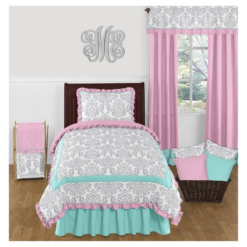 Turquoise & Pink Skylar Comforter Set (Twin) - Sweet Jojo Designs