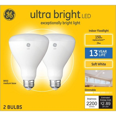 General Electric 2pk 150W BR30 LED Ultra Bright Light
