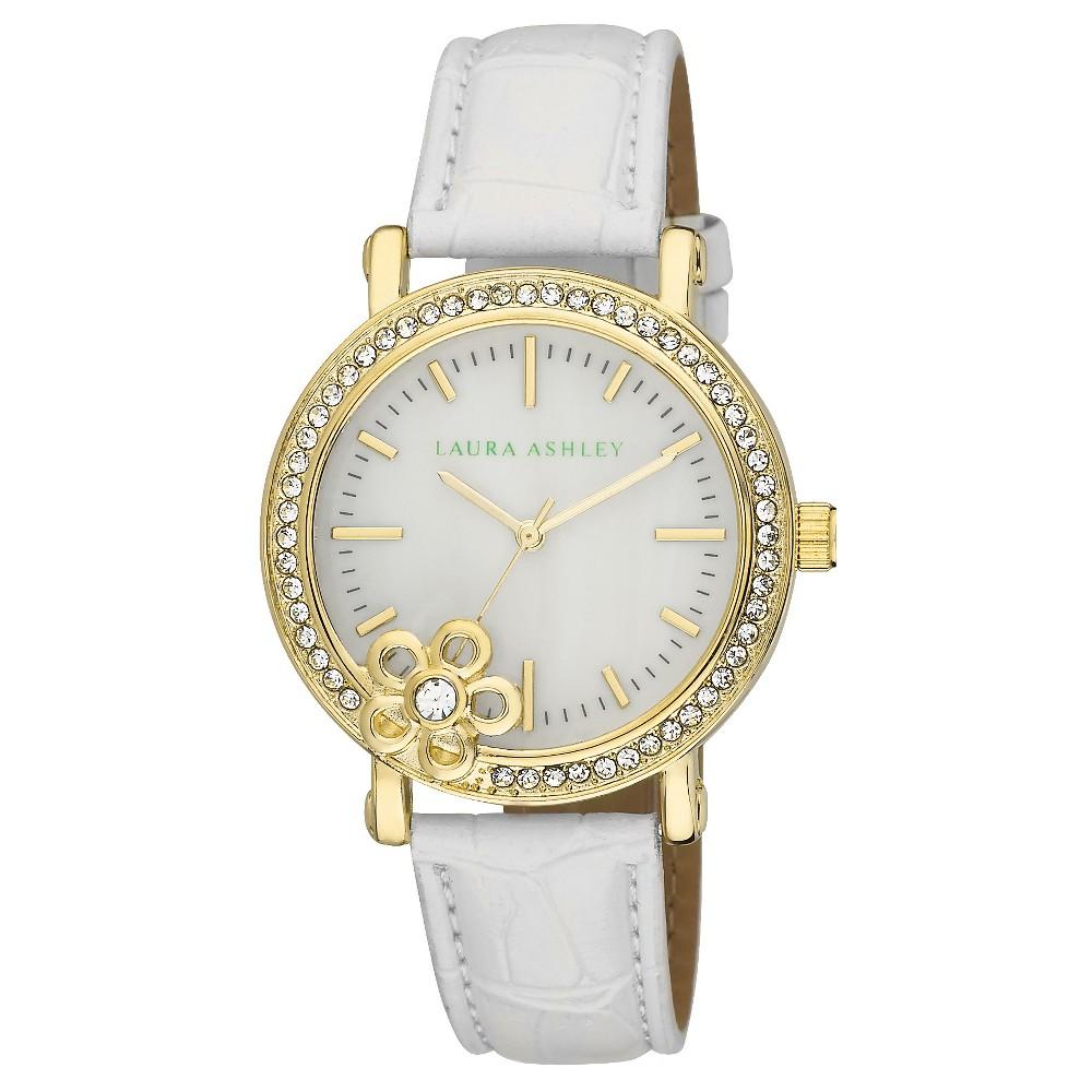 Women's Laura Ashley Floral Stone Bezel Watch - White