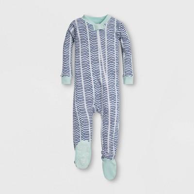 Burt's Bees Baby® Baby Boys' Watercolor Chevron Organic Cotton Footed Sleeper - Blue 12M