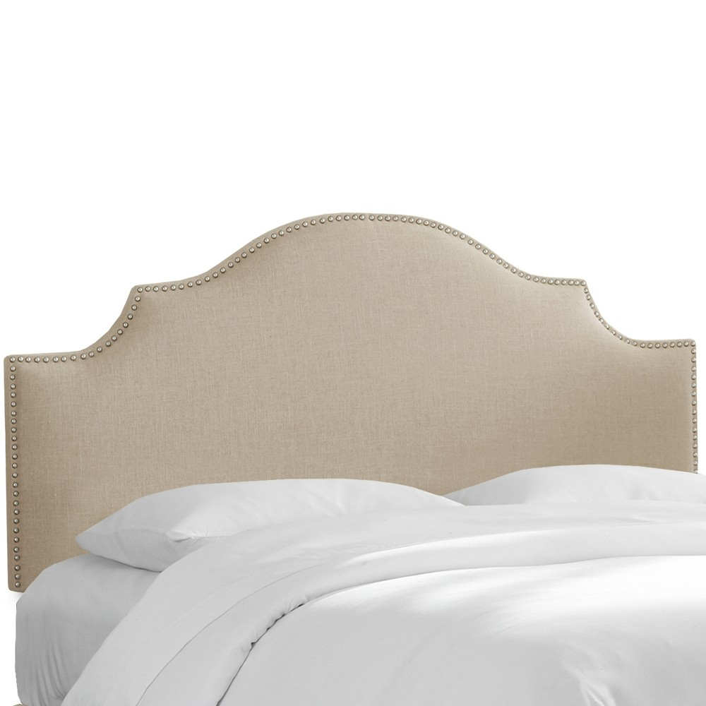 Nail Button Notched Headboard Full Linen Putty - Threshold