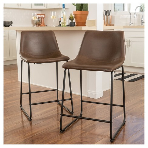 30 Cedric Faux Leather Barstool Vintage Brown Set Of 2