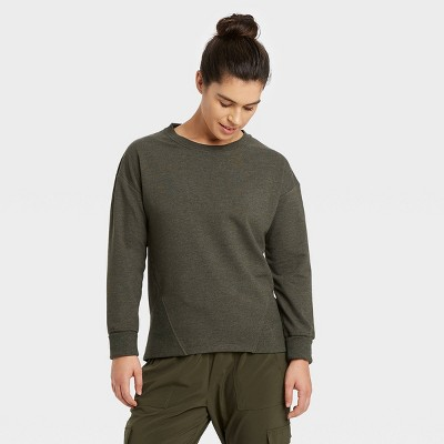 Women's French Terry Crewneck Pullover - All in Motion™ Olive Green XXL