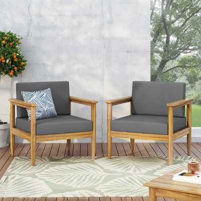 Magnolia 2pc Patio Acacia Wood Club Chairs - Teak/Dark Gray - Christopher Knight Home