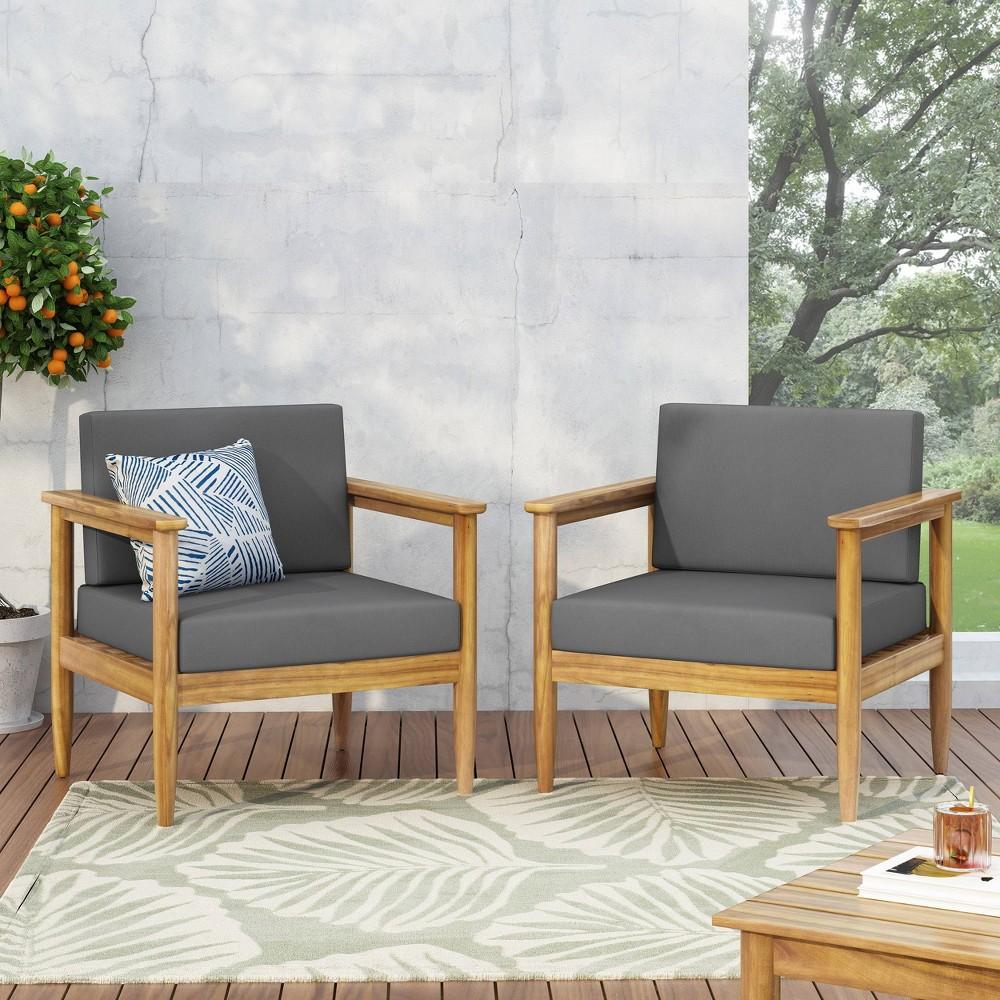 Magnolia 2pc Patio Acacia Wood Club Chairs Teak Dark Gray Christopher Knight Home