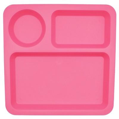 Big Kids' Square Plastic Divided Plate 10.5  Pink - Pillowfort™