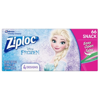 Ziploc Brand Snack Bags featuring Disney Frozen Designs - 66ct