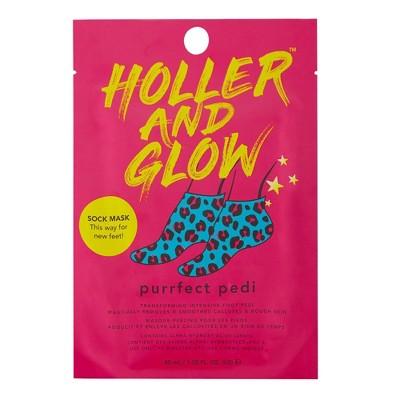 Holler and Glow Purrfect Pedi Intensive Transforming Foot Peel Sock Mask - 1.35 fl oz