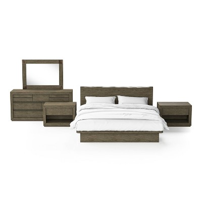 5pc Deerpath Bedroom Set with 2 Nightstands Light Walnut - HOMES: Inside + Out