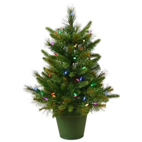 2ft Pre-Lit LED Artificial Christmas Tree - Multicolored Lights - image 1 of 3
