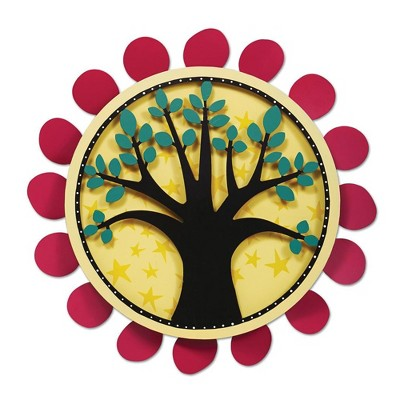 """Home & Garden 18.0"""" Tree With Fuchsia Dots Outdoor Kinetic Art Magnet Works Ltd.  -  Wind Spinners"""