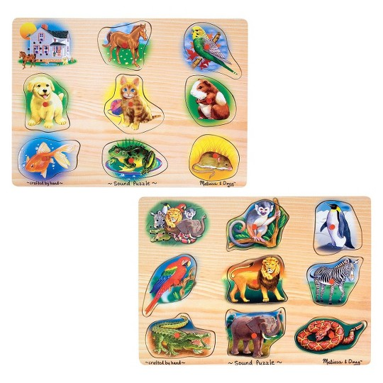 Melissa & Doug Sound Puzzles Set: Pets and Wild Animals Wooden Peg Puzzles 2pc image number null