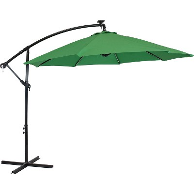 Sunnydaze Outdoor Steel Cantilever Offset Patio Umbrella with Solar LED Lights, Air Vent, Crank, and Base - 9' - Emerald