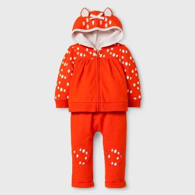 Baby Girls' 2pc Deer Hoodie and Jogger Set - Cat & Jack™ Orange Newborn