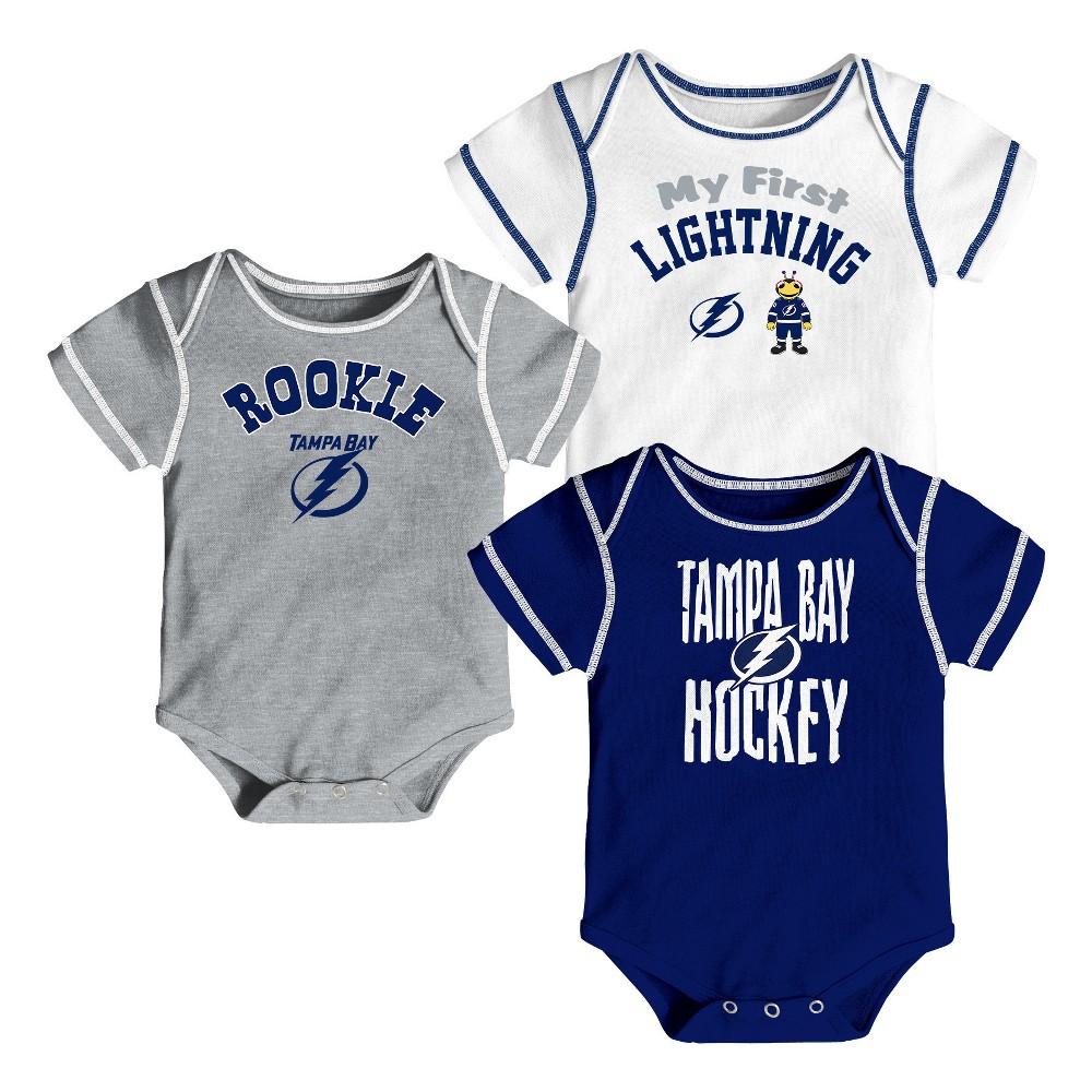 Tampa Bay Lightning Boys' Game Winner 3pk Body Suit Set 12 M, Size: 12M, Multicolored