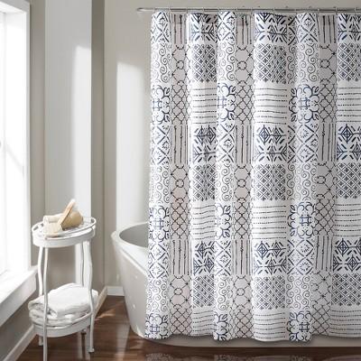Lush Decor Color Block Shower Curtain Blue