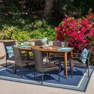 Haven 7pc Acacia & Wicker Dining Set - Teak/Brown - Christopher Knight Home