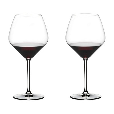 Riedel 27.16 Ounce Extreme Pinot Noir Clear Crystal Red Wine Glass Set for Light Bodied Red Wines with Tulip Shaped Bowl , (2 Pack)