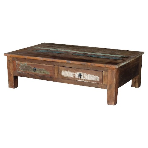 Reclaimed Wood Coffee Table And Double Drawers Natural Timber
