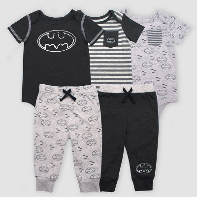 Baby Boys' Warner Bros. DC Comics Batman 5pc Bodysuit and Leggings Set - Gray 3-6M