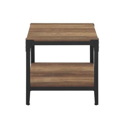 Set of 2 Angle Iron Rustic Wood End Table Rustic Oak - Saracina Home
