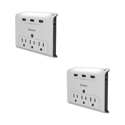 Huntkey 2 x SMD307 High Efficiency Wall Mount Outlet with Three 2.1 Amp USB Ports and Standard American Outlets, Cradle Ledge, White (2 Pack)
