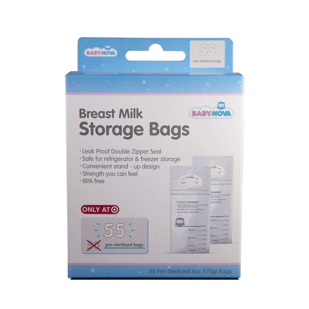 Image of Baby Nova Breast Milk Storage Bags - 55ct, Clear