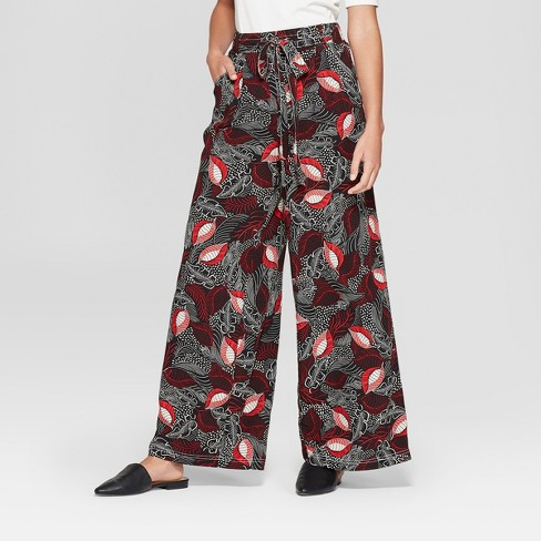 Women's Printed Wide Leg Pants - A New Day™ Burgundy M - image 1 of 3