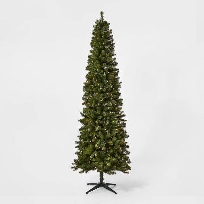 9ft Pre-lit Artificial Christmas Tree Slim Alberta Spruce Clear Lights - Wondershop™