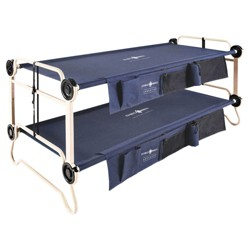 Disc-O-Bed XL Cam-O-Bunk Bench Bunked Organizers Double Camping Cot, Navy Blue