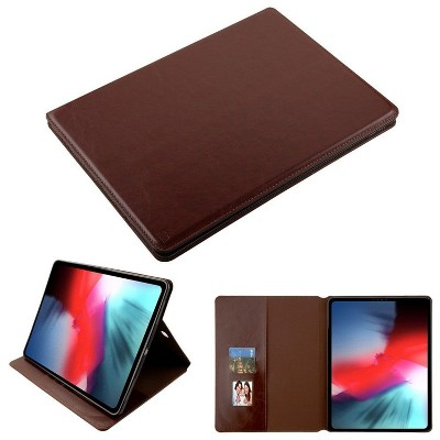 """MYBAT For Apple iPad Pro 12.9"""" (2018) Brown MyJacket Leather Fabric Case Cover w/stand"""