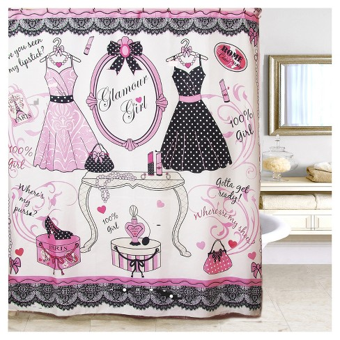 Glamour Girl Printed Shower Curtain White Pink