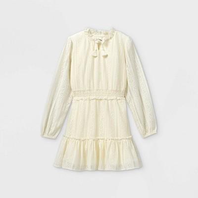 Girls' Lace Smock Waist Long Sleeve Dress - art class™ Ivory