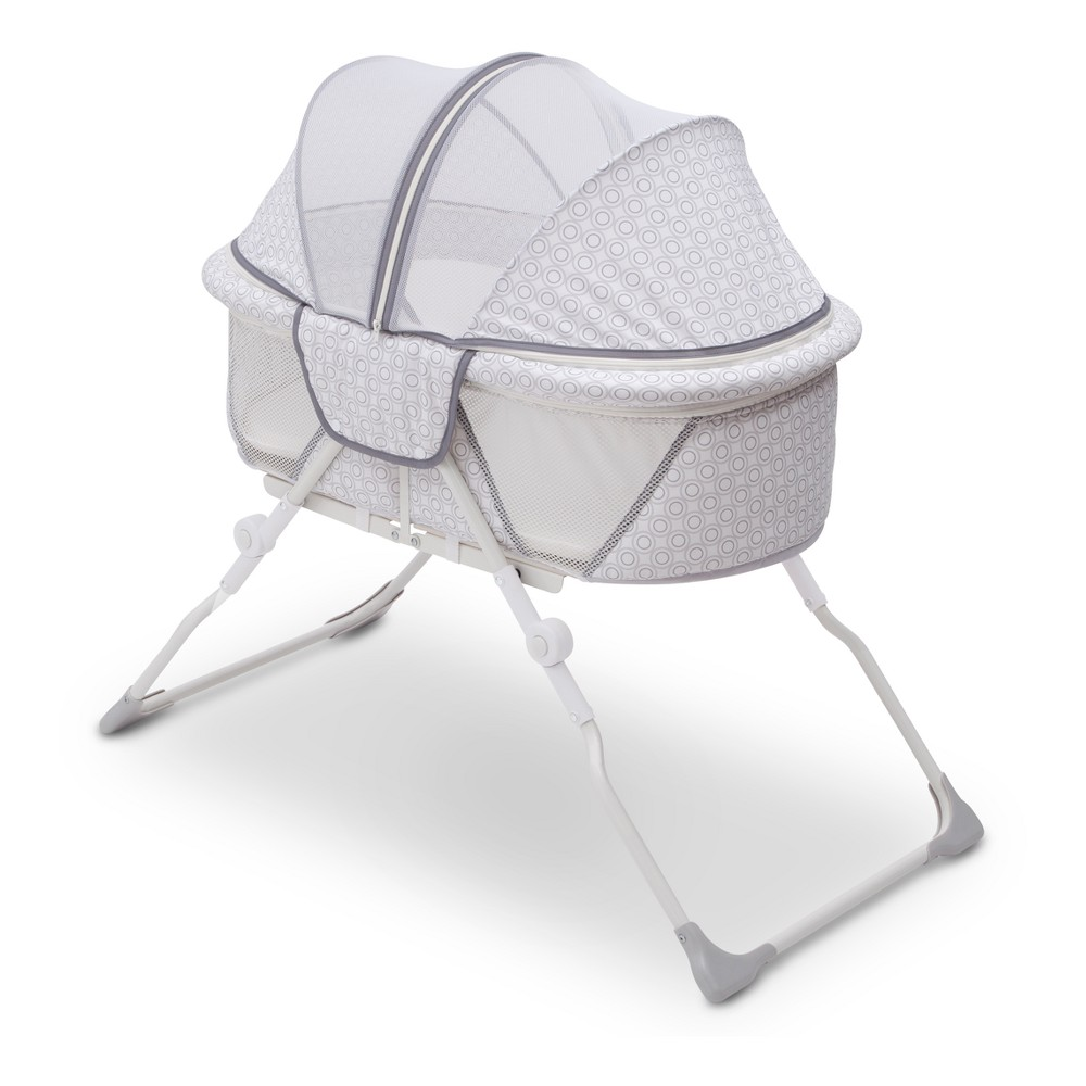 Image of Delta Children EZ Fold Ultra Compact Travel Bassinet - Gray, Inner Circle