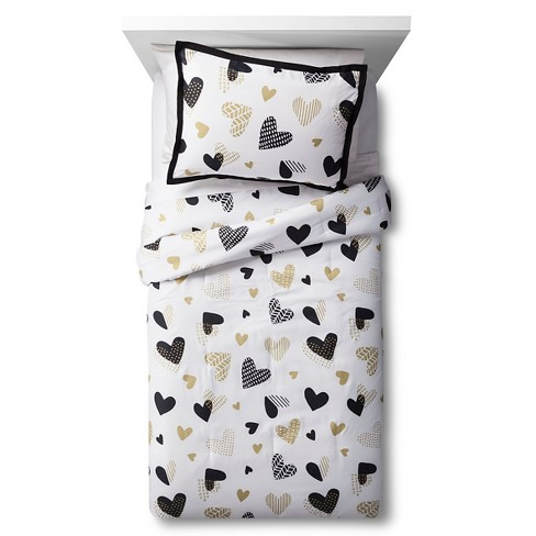 Hello Hearts Comforter Set Black White Pillowfort Target