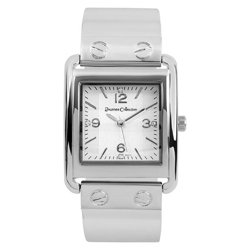 Women's Journee Collection Square Face Solid Metal and Link Watch - Silver - image 1 of 2