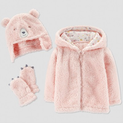 Baby Girls' Fleece Bear Jacket Set - Just One You® made by carter's Clay M (6-9M)