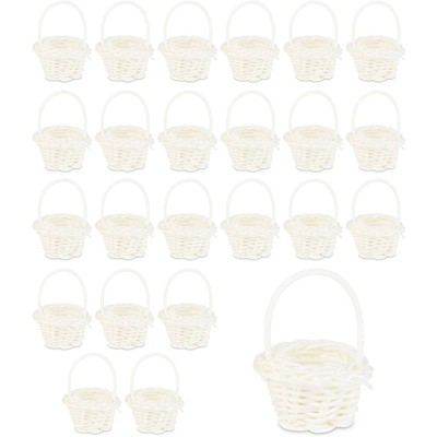 Juvale 24 Pack White Mini Woven Baskets with Handles (1.75 x 2.5 in)
