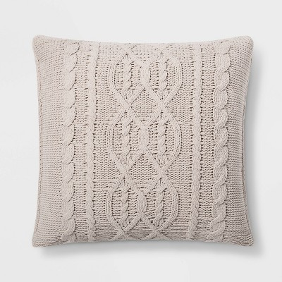 Cable Knit Chenille Oversize Square Pillow Neutral - Threshold™