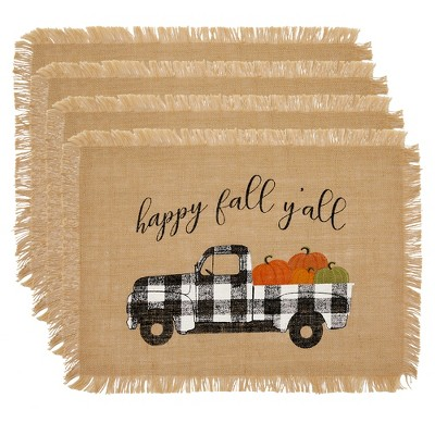 """Happy Fall Y'all Farmhouse Burlap Placemat, Set of 4 - 13"""" x 19"""" - Elrene Home Fashions"""