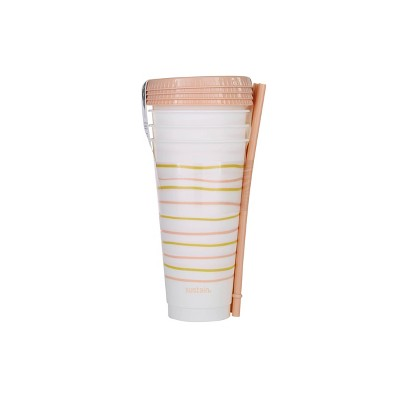 Sustain 24oz 4pk Plastic Reusable Cups - Pink Lines