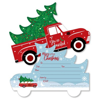 Big Dot of Happiness Merry Little Christmas Tree - Shaped Fill-in Invitations - Red Truck Christmas Party Invitation Cards with Envelopes - Set of 12