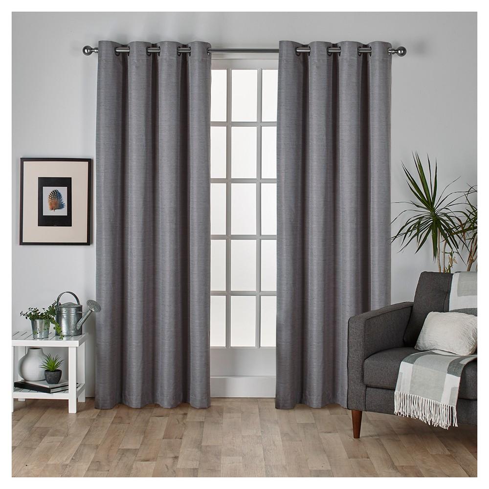 Raw Silk Thermal Room Darkening Window Curtain Panel Pair Black Pearl (54