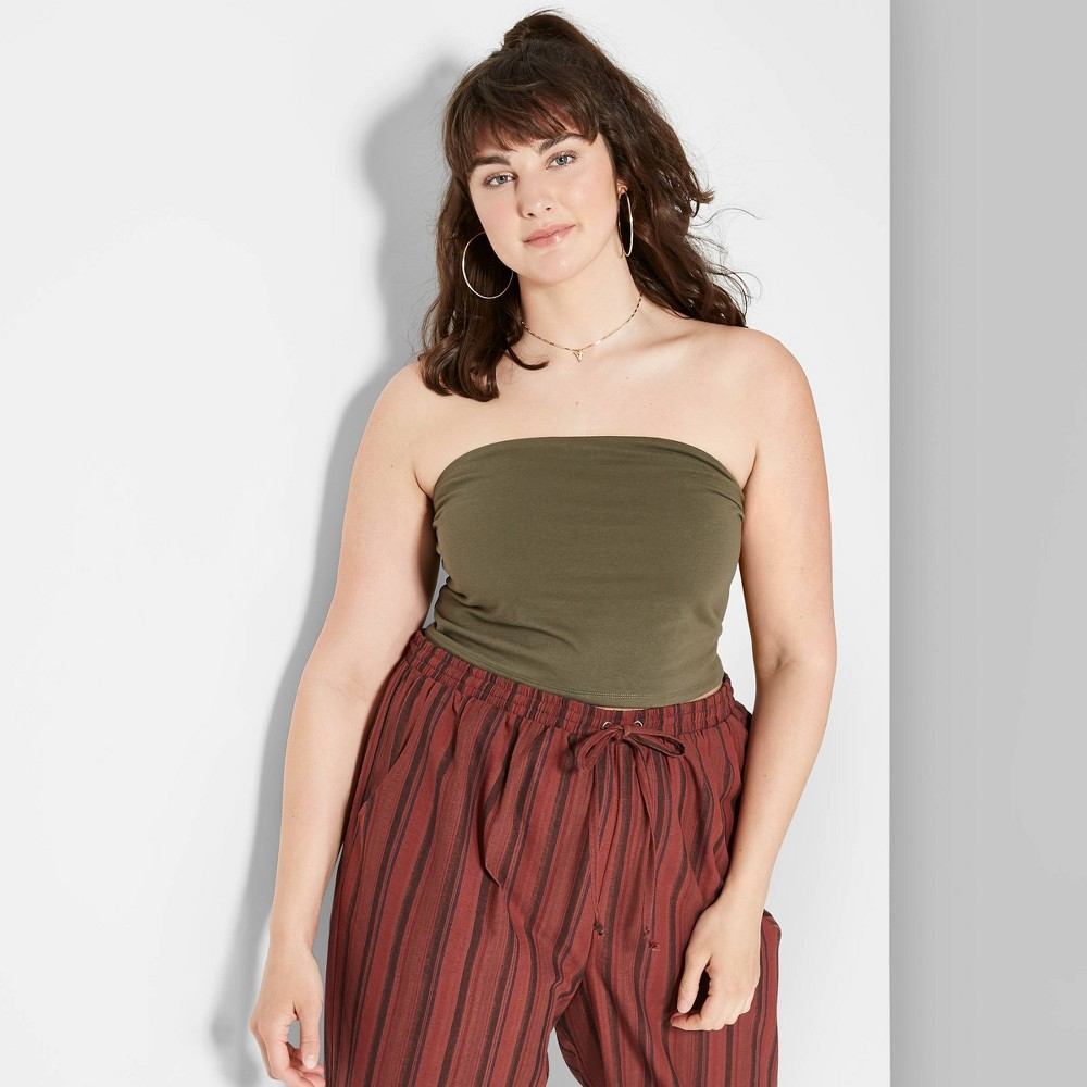 Image of Women's Plus Size Tube Top - Wild Fable Olive 1X, Size: 1XL, Green